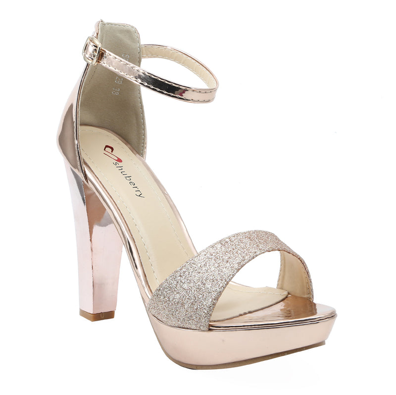 Shuberry SB-19029 Patent Champagne Heels For Women