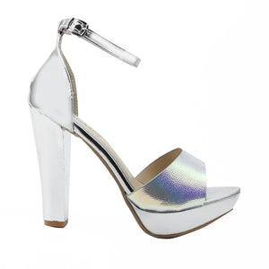 Shuberry SB-19030 Patent Silver Heels For Women
