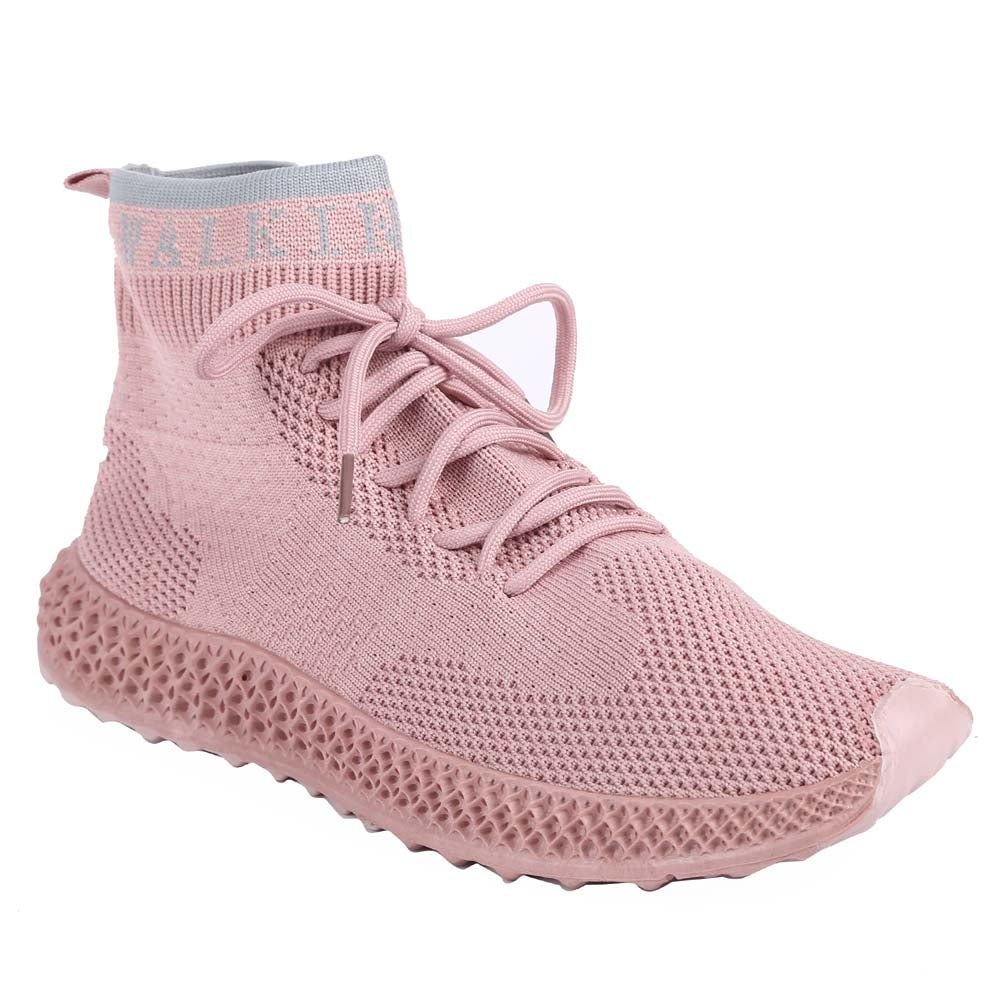 Shuberry SB-19062 Fabric Pink Colour Sock Sneakers  For Women