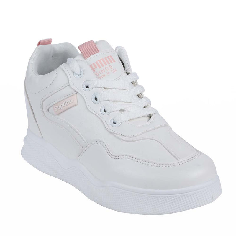 Shuberry SB-19064 Artificial Leather White & Pink Colour Sneaker For Women