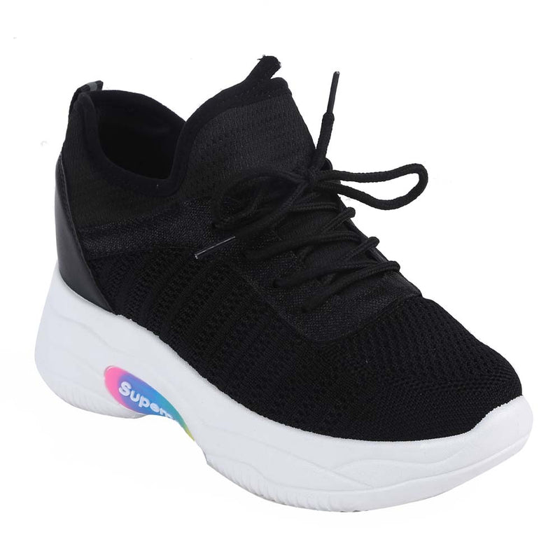 Shuberry SB-19066 Mesh Black Colour Chunky Sole Sneaker For Women