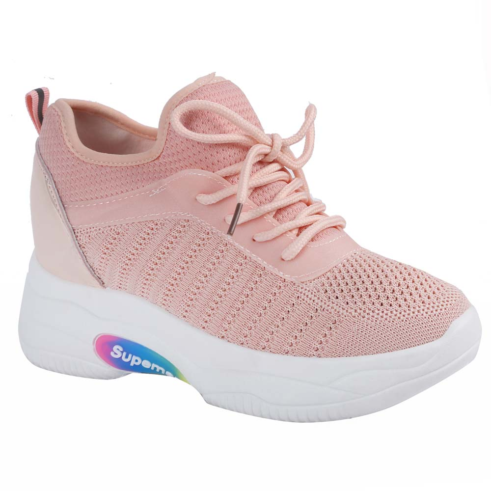 Shuberry SB-19066 Mesh Peach Colour Chunky Sole Sneaker For Women
