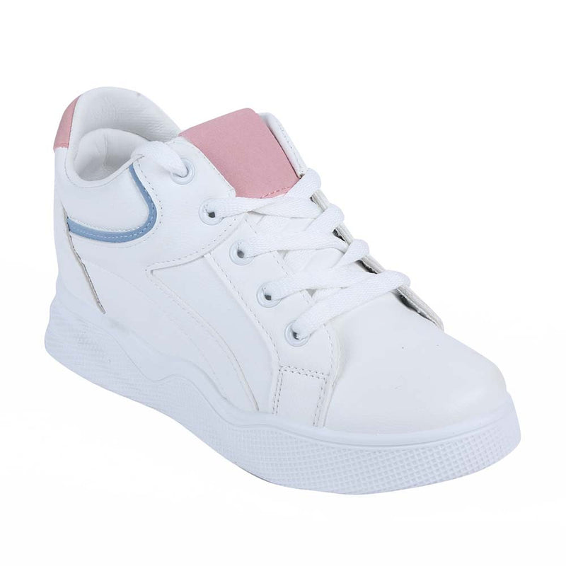 Shuberry SB-19067 Artificial Leather White & Pink Colour Sneaker For Women