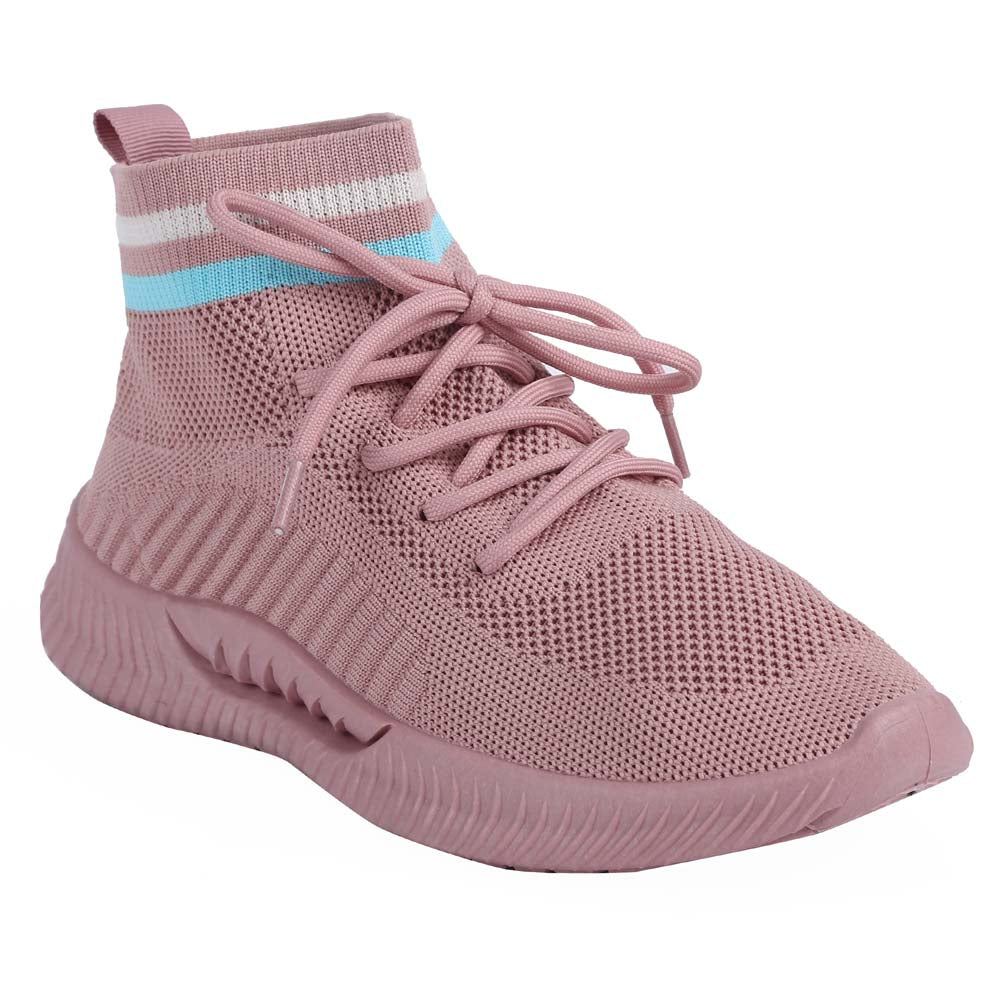 Shuberry SB-19068 Fabric Pink Colour Sock Sneakers  For Women