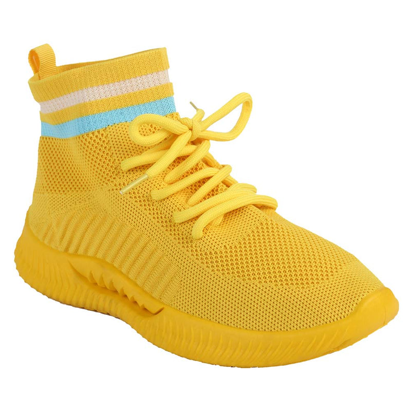 Shuberry SB-19068 Fabric Yellow Colour Sock Sneakers  For Women