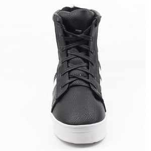 Black Faux Leather Sneakers  SB-260