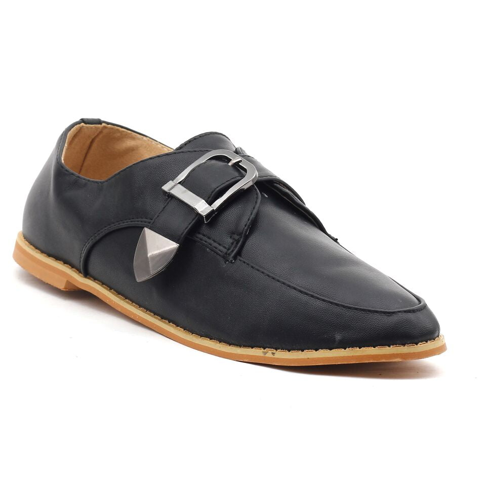 Black Faux Leather Casual Shoes SB-269