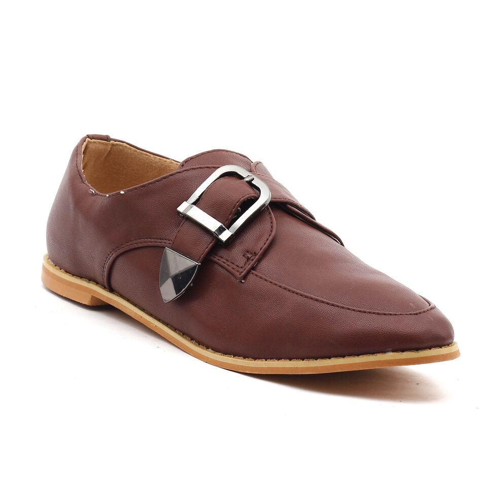 Brown Faux Leather Casual Shoes SB-269