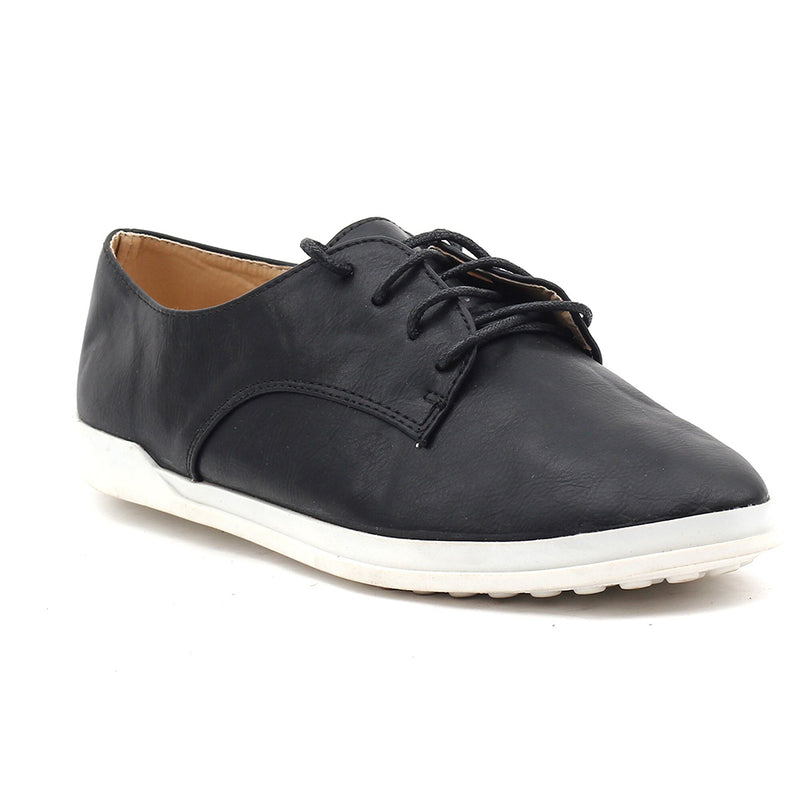 Black Faux Leather Casual Shoes SB-272