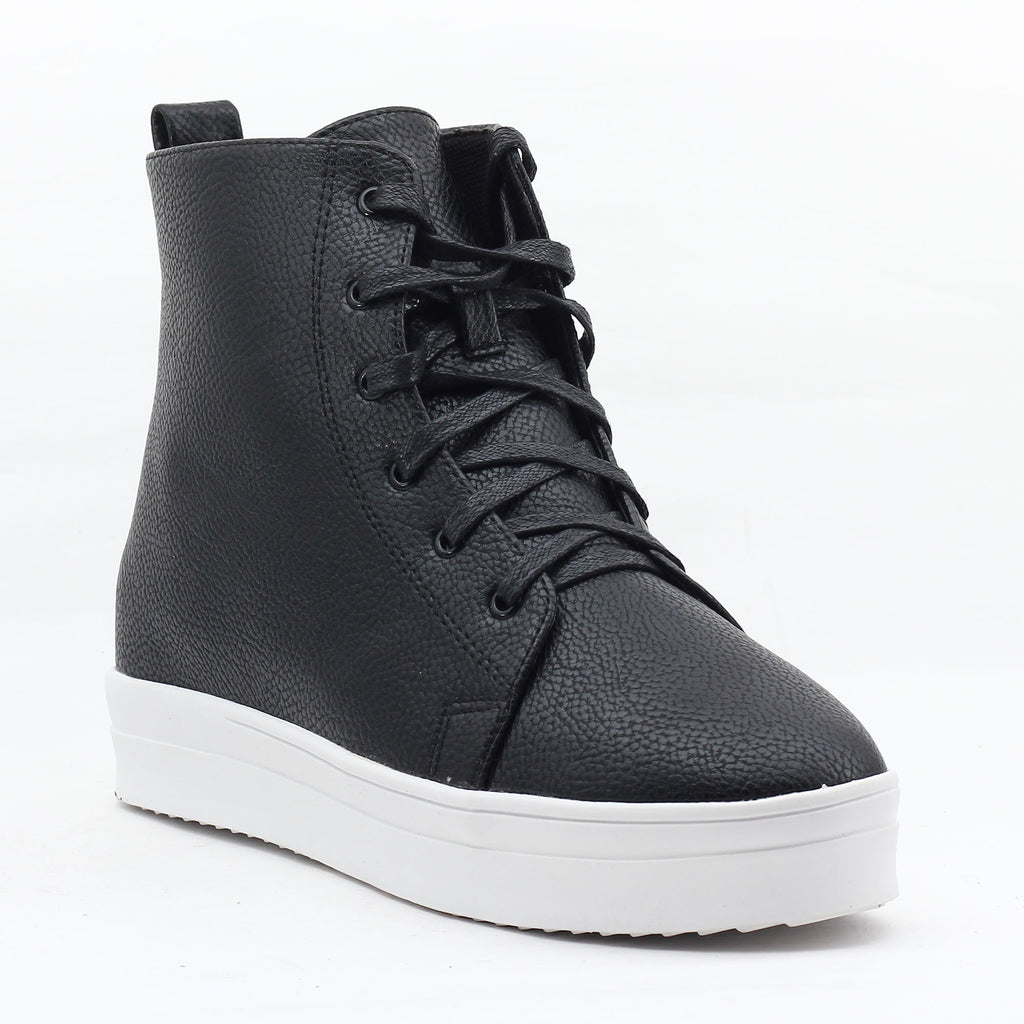 Black Faux Leather Sneakers-SB-275