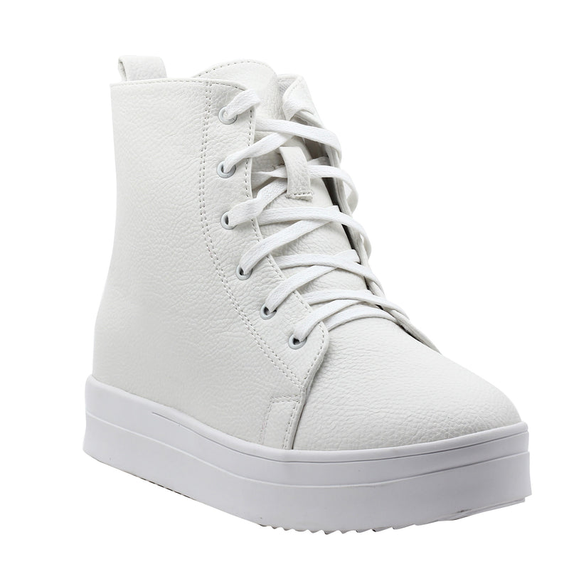 White Faux Leather Sneakers-SB-275