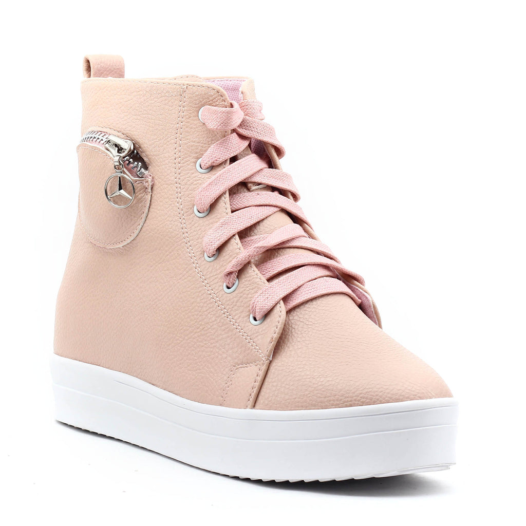 Pink SB-276 Faux Leather Sneakers