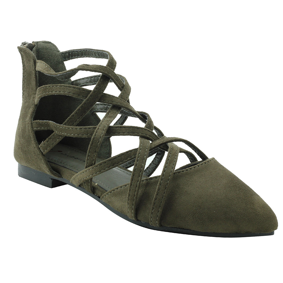 Olive Suede Flats - SB-388
