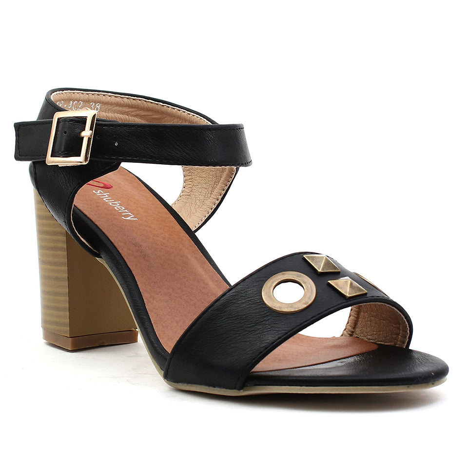 Black Artificial Leather Heels SB-402