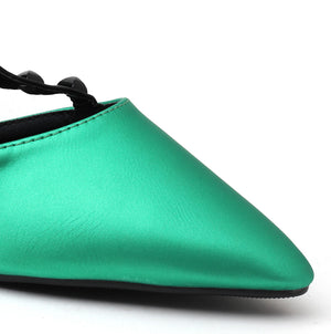 Green Faux Leather Heels - SB-497
