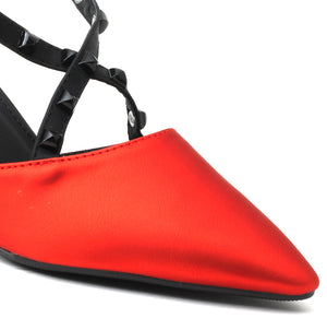 Red Faux Leather Heels - SB-497