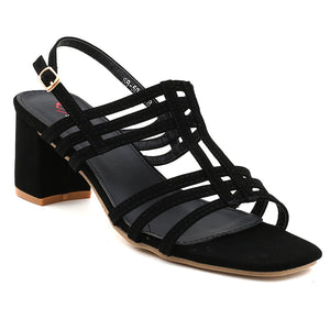 Black Faux Leather Gladiator Heel SB-503