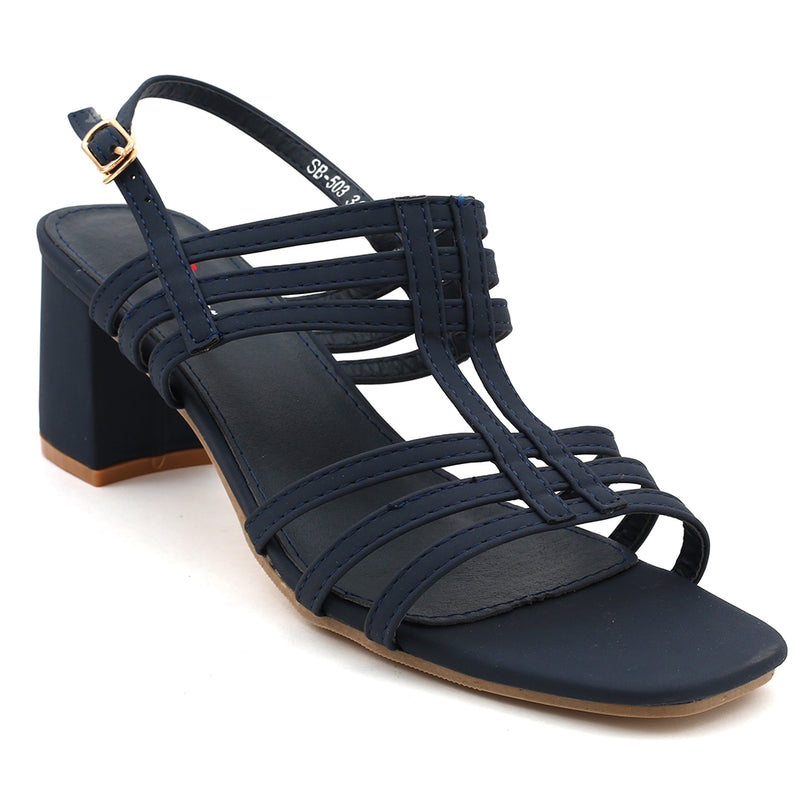 Navy Faux Leather Gladiator Heel SB-503