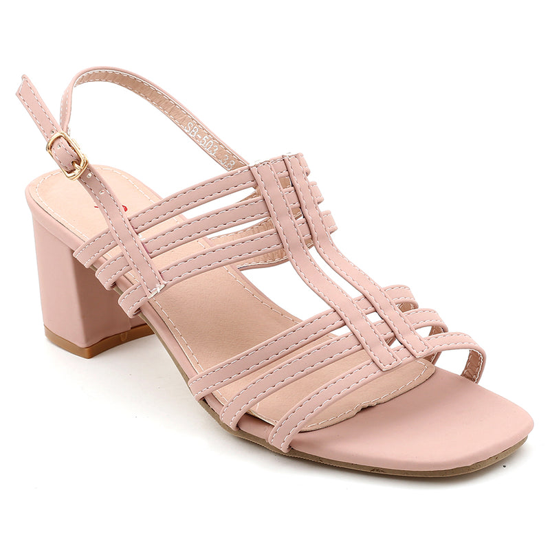 Peach Faux Leather Gladiator Heel SB-503