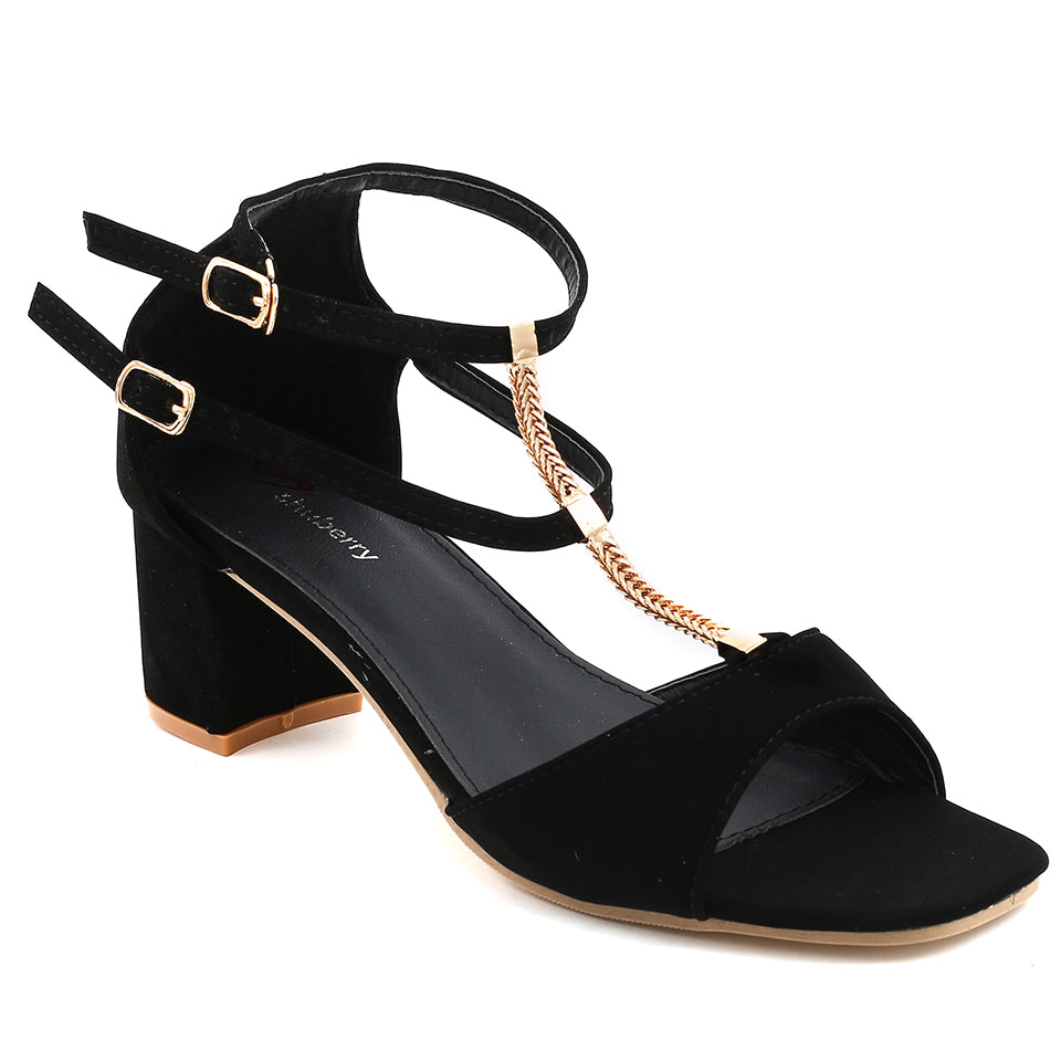 Black Faux Leather Sandal SB-504