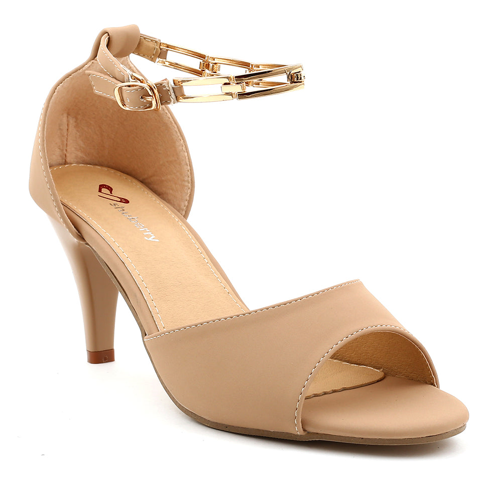 Beige Faux Leather Heel SB-505
