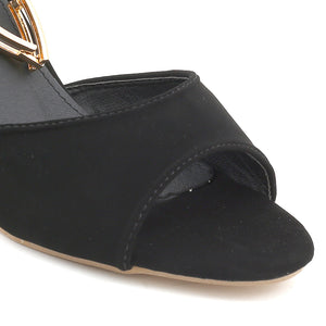Black Faux Leather Heel SB-505