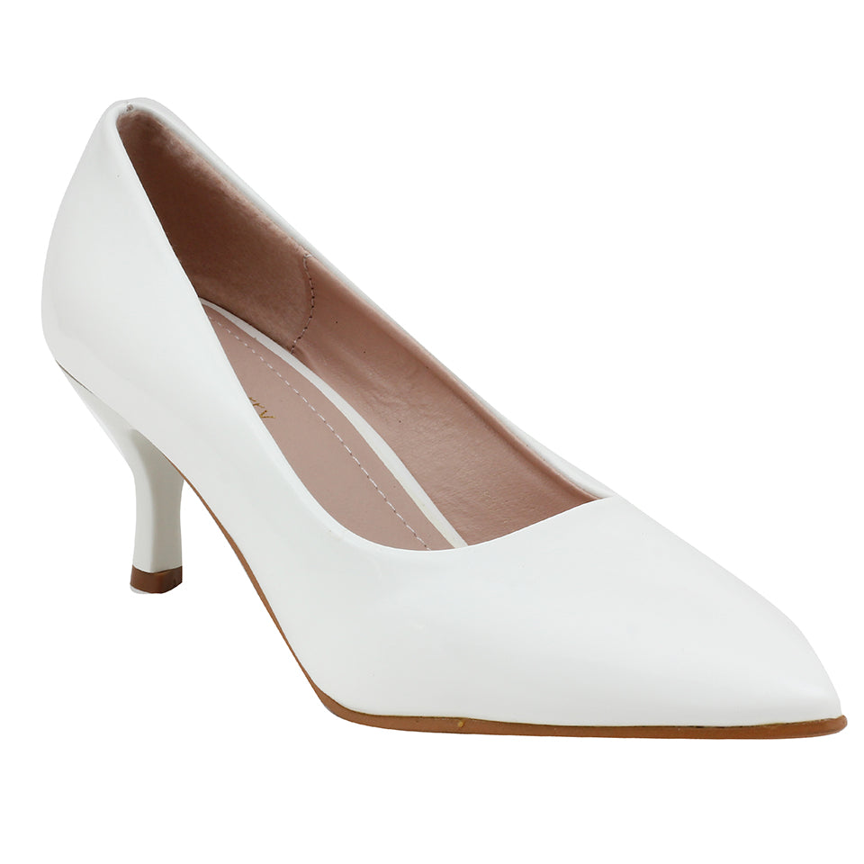White Patent Pumps - SB-508