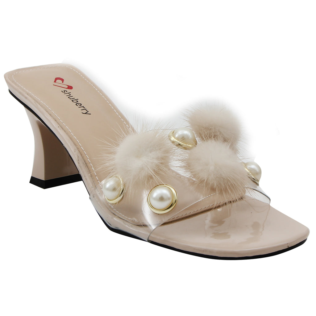 Beige Synthetic Party Heels SB-527