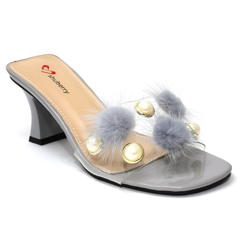 Grey Synthetic Party Heels SB-527