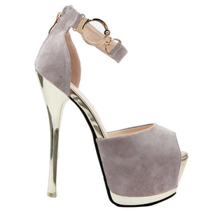 Grey Suede Party Heels SB-803