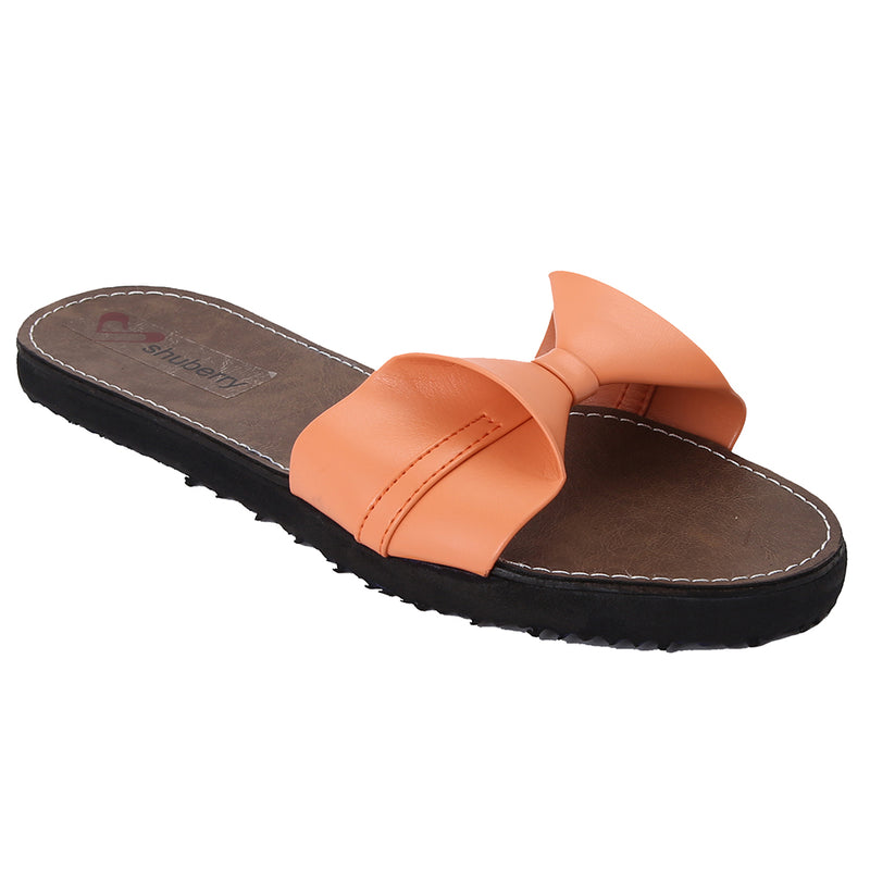 Peach Artificial Leather Flats - SB-Z1811