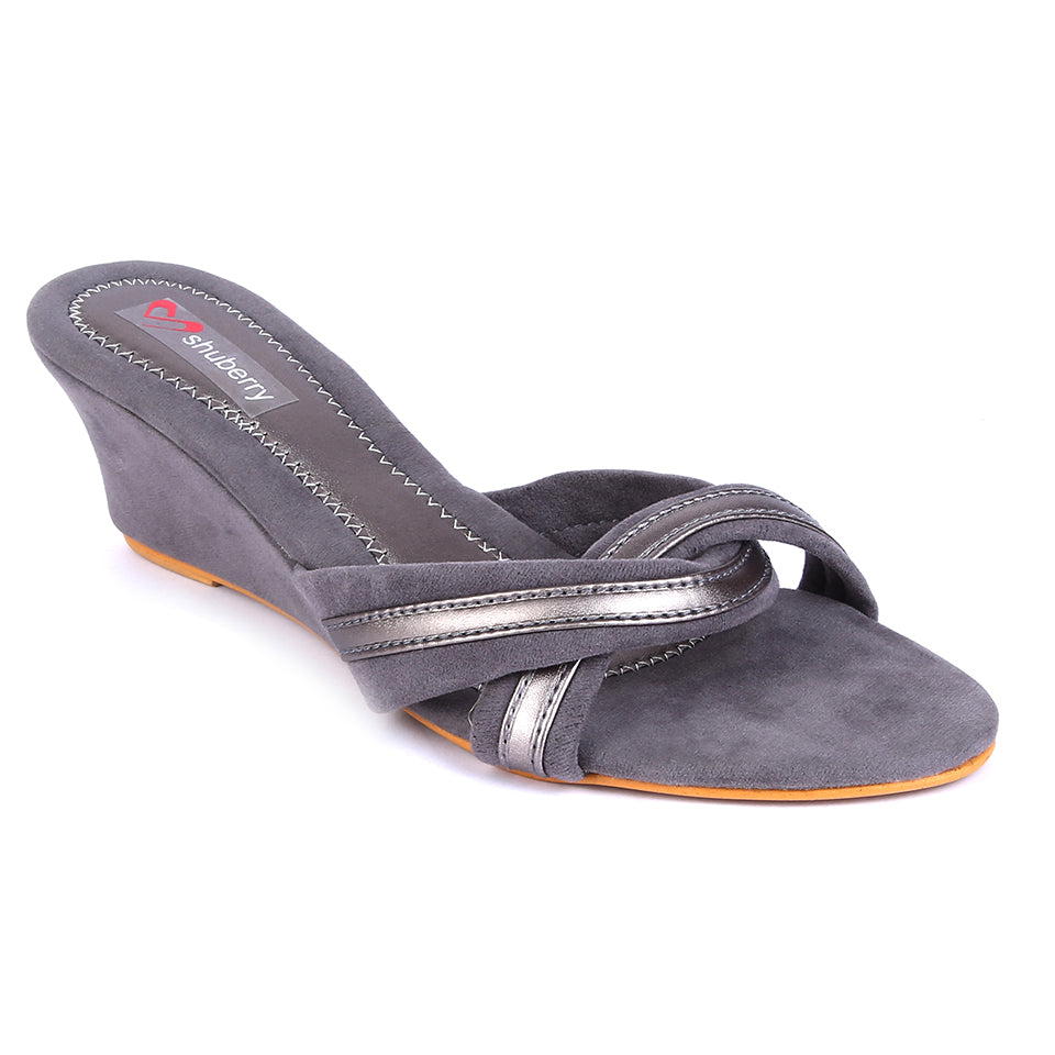 Grey Velvet Wedges SB-Z1819