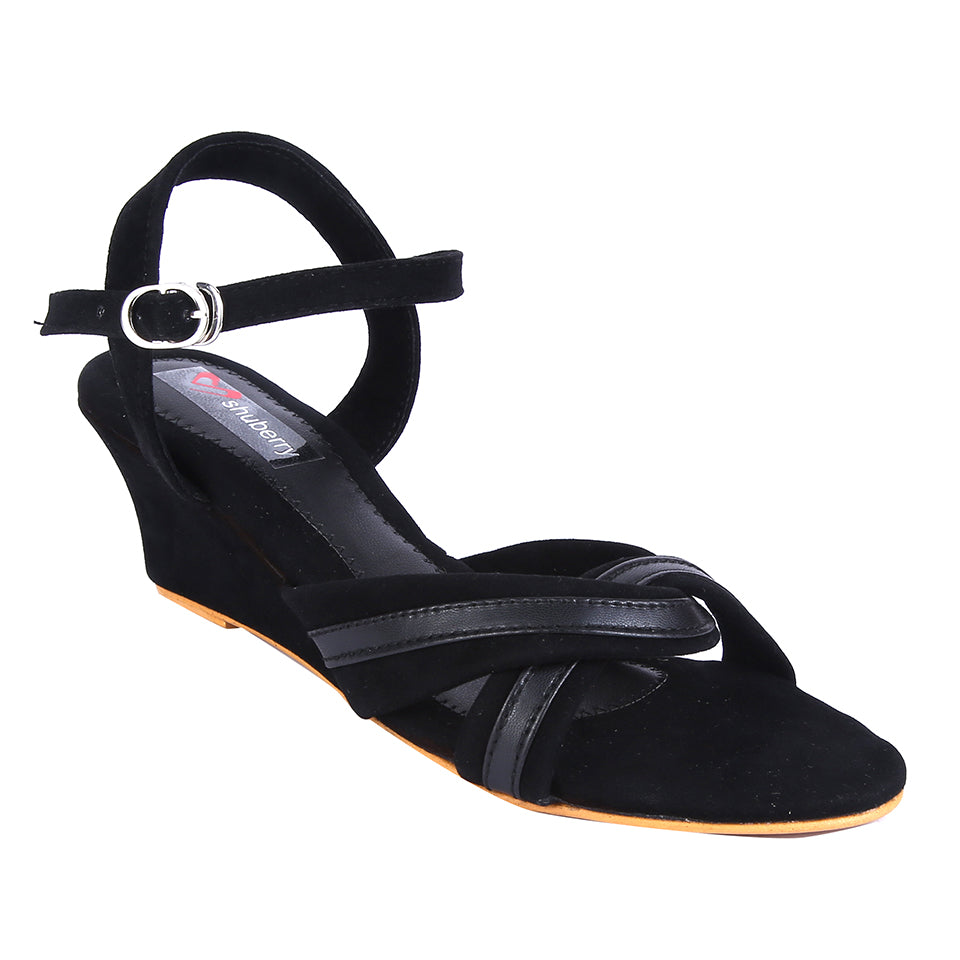 Black Velvet Wedges SB-Z1820