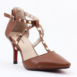 Tan Faux Leather Heels SB-235