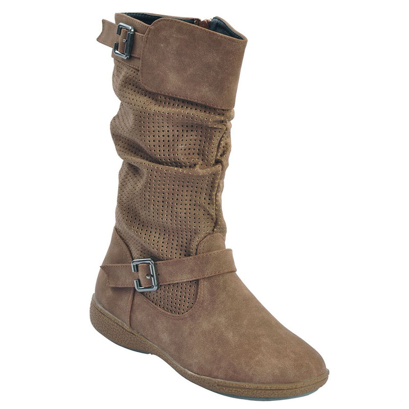 Brown Faux Leather Slouch Boots SB-436