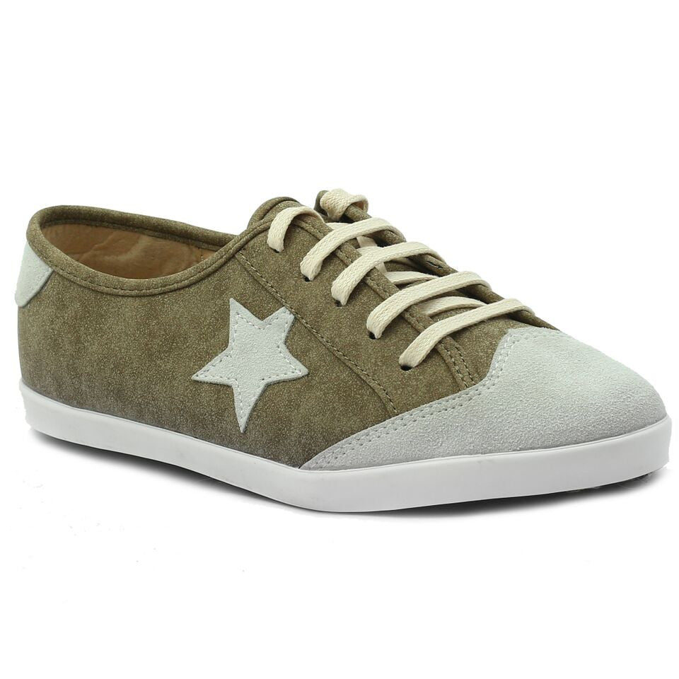 Olive Faux Leather Sneaker SB-469