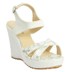 White Artificial Leather Heels SB-478