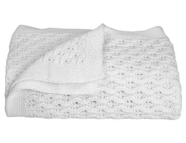 Living Textiles Cotton Baby Shawl White