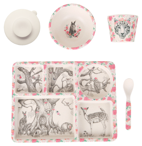 Love Mae 5 piece Bamboo Dinner Set Enchanted Forrest