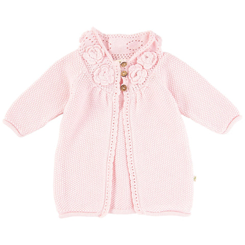 TinyTwig Soft Pink Knitted Floral Cardigan