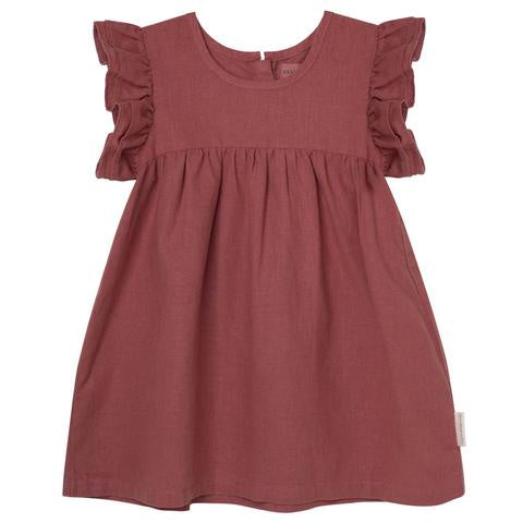 DK Frill Sleeve Dress - Redwood