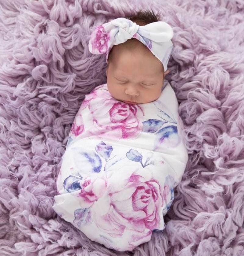 Snuggle Hunny Swaddle & Topknot Set Lilac Skies