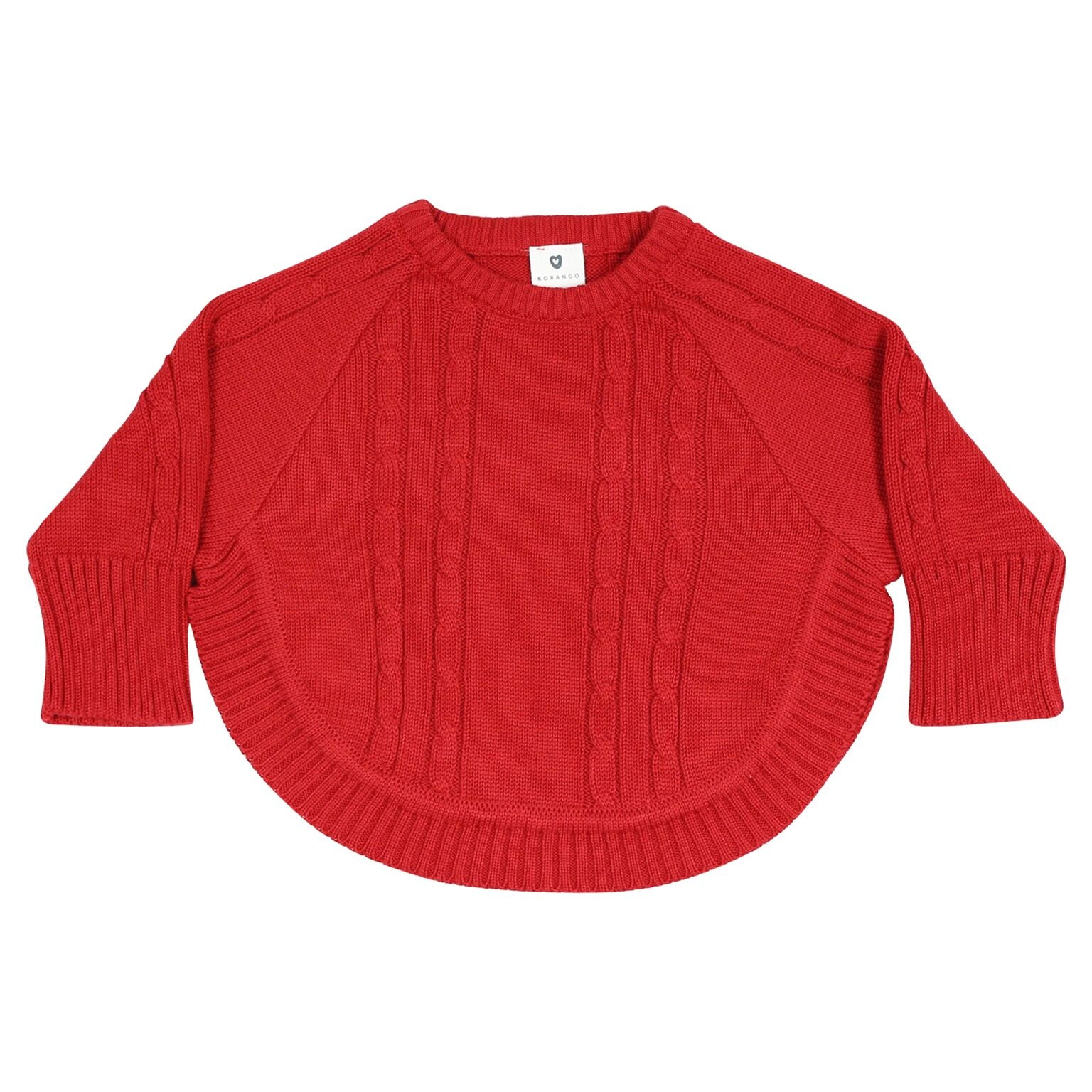 Korango Cable Knit  Poncho Red