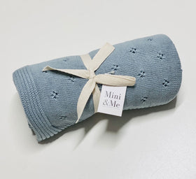 Mini & Me Cable Knit Blanket Island Blue