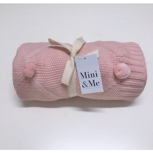 Mini & Me Pom Pom Baby Blanket Blush