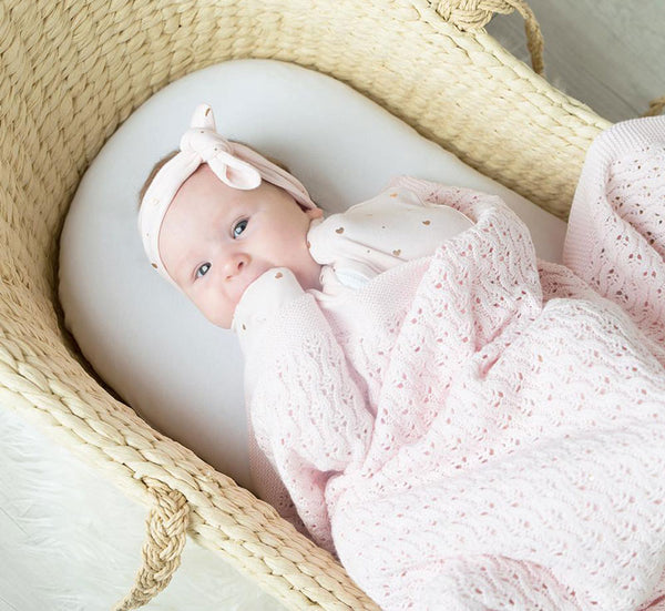 Living Textiles Cotton Baby Shawl - Pink