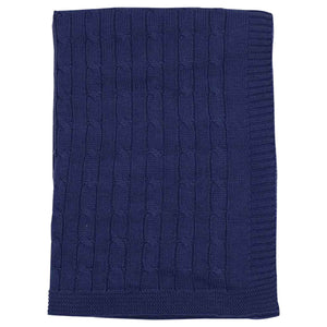 Korango Vintage Cable Knit Blanket- Navy