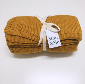 Mini & Me Cable Knit Blanket Mustard