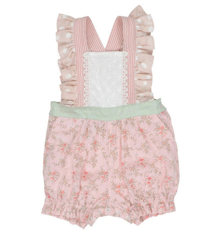 Arthur Avenue Lacey Pink Short Playsuit