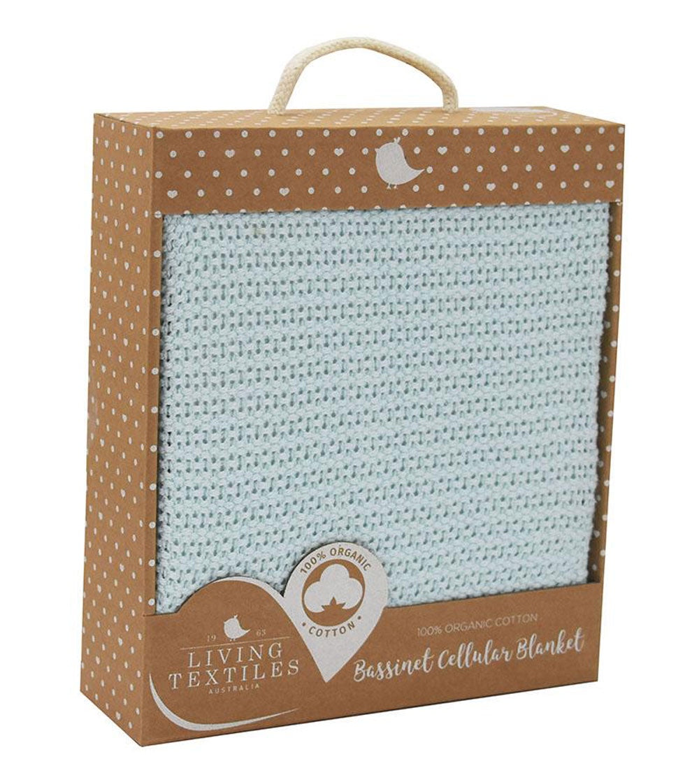 Organic Cotton Bassinet Blanket - Aqua